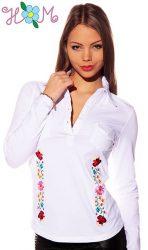 Embroidery Mania - Long Sleeve polo - hungarian folk embroidered - kalocsa stye - white