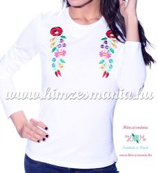 Ladies long sleeve T-shirt - hungarian traditional machine embroidery - Kalocsa style - white