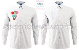 Pre-stamped men shirt - hungarian folk hand embroidery - Kalocsai pettern - white