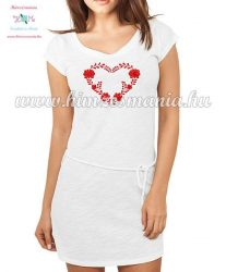 Women's cotton clothing - folk embroidery - matyo heart motif - white