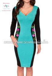 Hosszú ujjú elegáns női ruha - matyó mintás - kézi hímzés - türkiz (36)