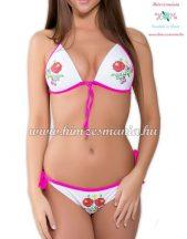 Kalocsai bikini - push up - nyomott minta - fehér