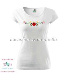 Woman's Short Sleeve T-Shirts - hungarian folk embroidery - Matyo motif - white