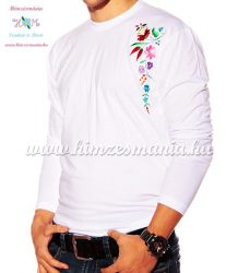 Embroidery Mania - T-shirt - long sleeve - hungaryan folk from Kalocsa - white