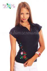 Women polo shirt - hungarian folk embroidery - Kalocsa style - navy