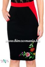 Elegant skirt - folk hand embroidered - tradicional Kalocsa motiv - red