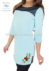 Tunic - hungarian folk machine embroidery - Kalocsa motif - blue