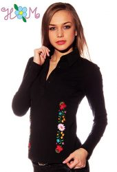 Embroidery Mania - Long Sleeve polo - hungarian folk embroidered - kalocsa stye - black