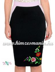 Elegant skirt - folk hand embroidered - tradicional Kalocsa motif - pastel