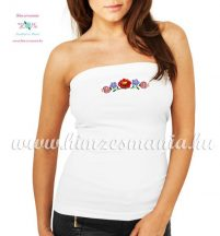 Women's top - hungarian folk fashion - machine embroidery - white