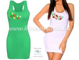 Long boxer top - hungarian folk machine-embriodery - Matyo motif - light green