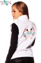 Embroidery Mania - Fleece vest - folk embroidery from Hungary - white