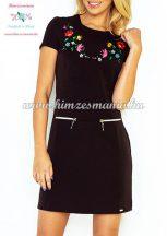 Women's dress - folk machine embroidery - Kalocsa pattern - black