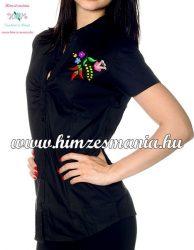 Rövid ujjú női ing - kalocsai minta - gépi hímzés - fekete