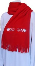 Hímzésmánia - kalocsai hímzett polár sál - unisex - piros