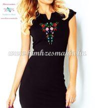 Women's dress - folk embroidery - Kalocsa style - black