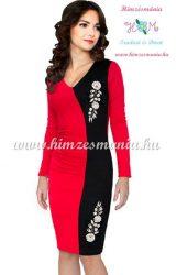 Kalocsai mintás alkalmi ruha - piros - Hímzésmánia (36)
