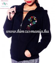 Women sweatshirt - hungarian folk embroidery - kalocsa heart - black