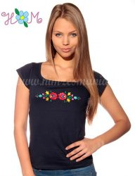 Embroidery Mania - T-shirt hungarian folk machine-embroidered - blue