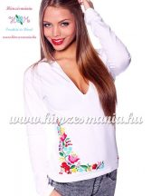 Women sweatshirt - hungarian folk hand embroidery - kalocsa motif - white