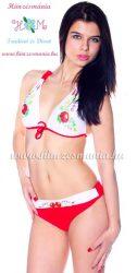 Kalocsai mintás bikini - push up - piros