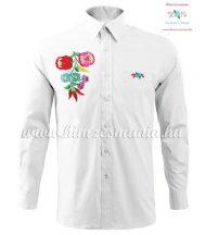Man's long sleeve shirt - hand embroidery - hungarian folk style - white
