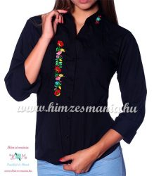 Woman's 3/4 sleeve shirt - hand embroidery - hungarian folk style - black