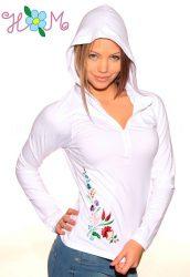Embroidery Mania - T-shirt long sleeve hungarian folk machine-embroidered - Kalocsa style - white