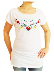 Embroidery Mania - T-shirt dress hungarian folk hand-embroidered - white