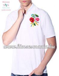 Kalocsai mintás férfi galléros piké póló - kézi hímzés - fehér