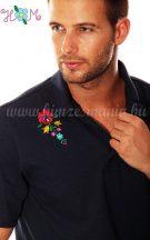 Hímzésmánia - matyó mintás elején-hátulján hímzett galléros férfi póló - sötétkék