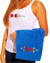 Hand towels - hungarian folk embroidery - Matyo style - royal blue