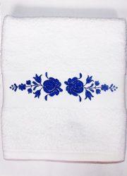 Hímzésmánia - matyó hímzett törölköző - fehér - kék mintával