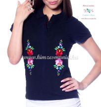 Rövid ujjú női pólóing hímzett kalocsai mintával - Hímzésmánia - navy  (S)