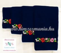 Towel - folk machine embroidered - hungarian Kalocsa motif - dark blue