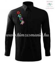 Man long sleeve shirt - hungarian machine embroidery - Kalocsa style - black