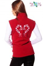 Embroidery Mania - Fleece vest - folk embroidery from Hungary - red