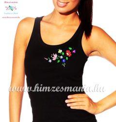 Tank top - hungarian folk embroidery - Kalocsa motif - black