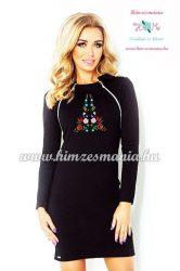 Elegant ladies' dress - folk embroidery - hungarian style - Kalocsai motif - black