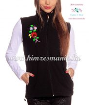 Fleece vest - folk embroidery from Hungary - Kalocsa motif - black