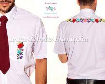Men's short sleeve shirt - hand emboidery - folk motif - Kalocsa style - white