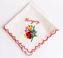 Handkerchief - hungarian folk embroidered - Kalocsa style - red