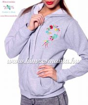 Women sweatshirt - hungarian folk embroidery - kalocsa heart - gray