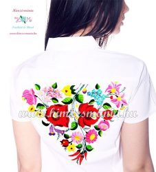 Exclusive women's short sleeve shirt - hungarian folk - hand embroidery - Kalocsa style - white
