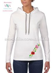 Women's long sleeve hooded tee - machine embroidery - hungarian folk style - white