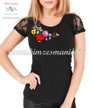 Short-sleeved lace women top - traditional folk hand embroidery - hungarian motif - Black