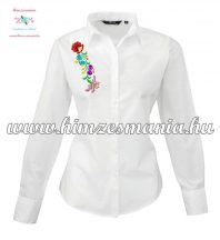 Woman long sleeve shirt - hungarian machine embroidery - Kalocsa style - white