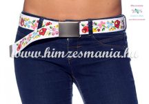 Belt Metal Buckle - hungarian folk design - Kalocsa style - unisex - white