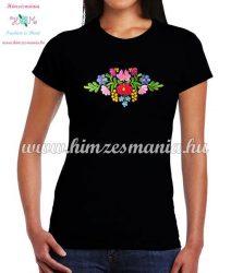 Women's t-shirt - short sleeve - folk embroidery - matyo motif - handmade - black