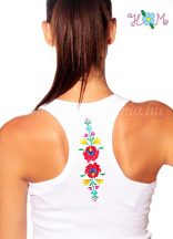 Top - hungarian folk machine embroidery - Matyo motif - white
